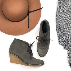 J. Crew grey suede wedge ankle booties boots